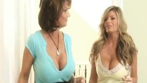 Two hot babes and blondes are having a sex action on the fancy bed, in the late afternoon