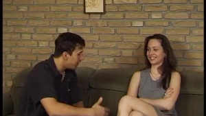 Sexy hot brunette gets pissonied on the couch