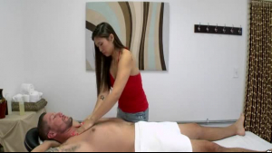 Yummy masseur sucking on her client