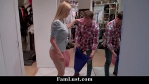 Tattooed blonde lady is licking her step- son's dick, while another guy is eagerly waiting for her