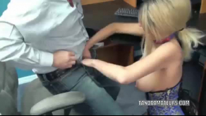 Good looking blonde babe, Jade Rayne likes to have sex with her best friend, in his office