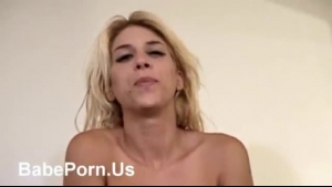 German blonde is gently bouncing her huge boobs and sucking a huge dick, during a job interview