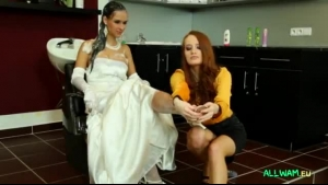A bride in white stockings gets frisky